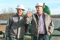 Torstein Hole (left); seniorVP for US onshore in Statoil and Andy Winkle; Statoil's VP for the Marcellus asset; at a well pad in the Marcellus area