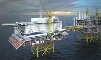 Illustration of the Johan Sverdrup utility and living quarters platform