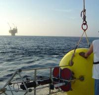 Buoy containing Teledyne RD Instruments Workhorses Long Ranger ADCP